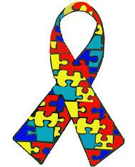 Autism awareness ribbon. A series of coloured puzzle pieces put together.