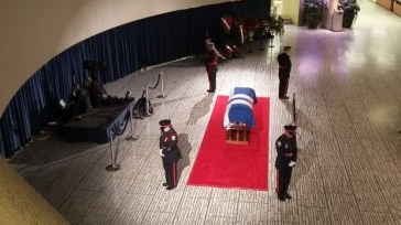 An overhead view of the guards and memorial.