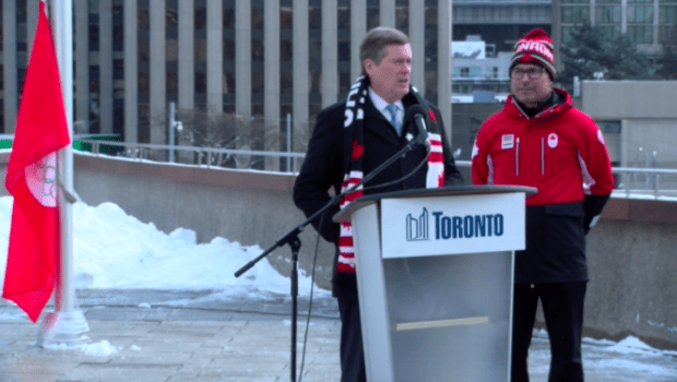 John Tory Raises Canadian Flag for 2018 Winter Olympic Games