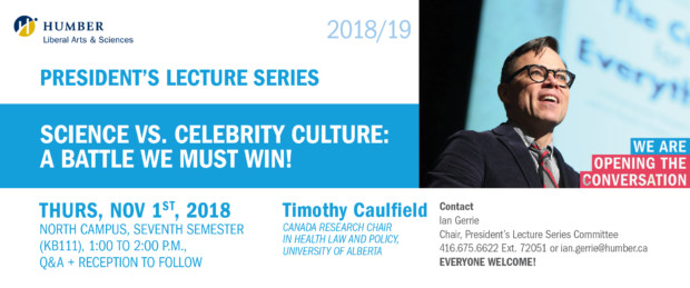 President's Lecture Series Presents Timothy Caulfield