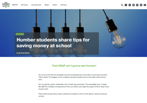 Financial tips for Humber College students