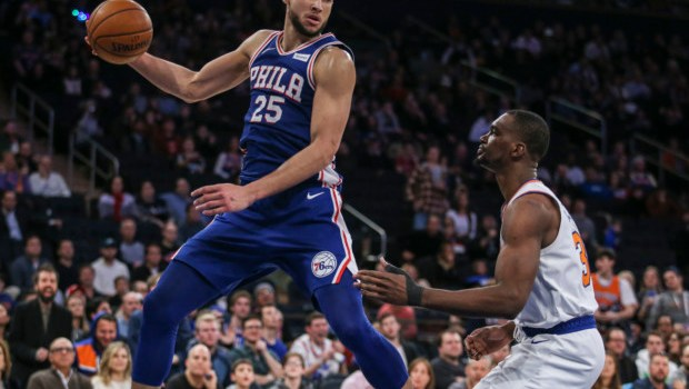 New York Knicks struggle without key players in a 108-105 loss against Philadelphia.