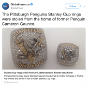 Stanley Cup Championship Rings stolen from Etobicoke Home