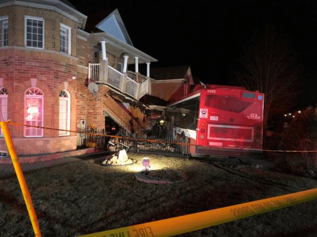 TTC bus crashes into Scarborough homes