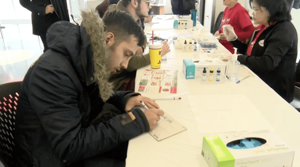 Humber College hosts an event for students to find their blood type
