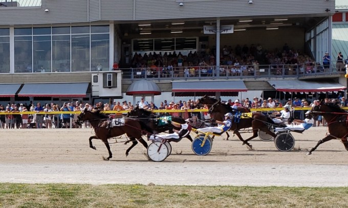 Harness racing at Grand River Raceway in Elora, ON in August 2019.