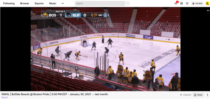 The record-breaking NWHL broadcast - take a look at that number in the bottom right