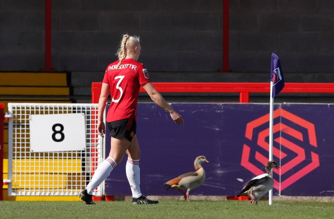 Manchester United's Maria Thorisdottir ushers ducks off the pitch during a match, right in front of the WSL logo