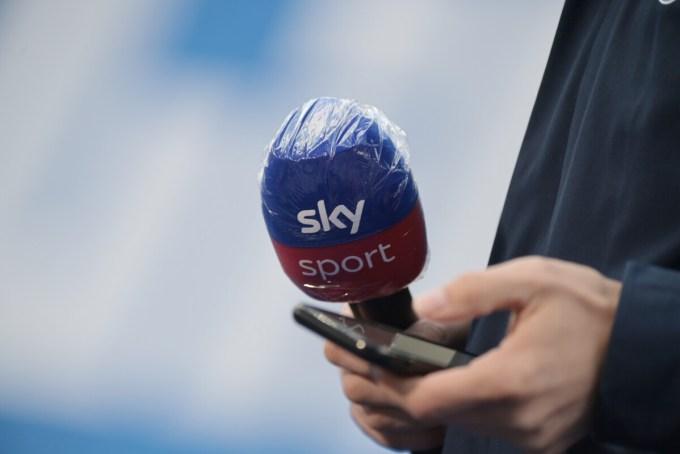A Sky Sports microphone before a soccer match