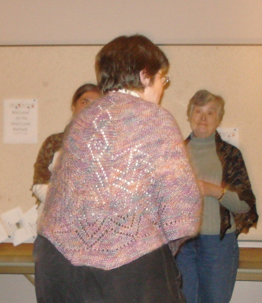 Terry modeling the shawl she knit for future daugther-in-law