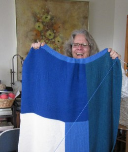 Susanne and her latest Moderne Blanket