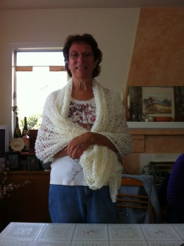 Rose completed her shawl for cruise