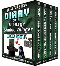 Diary of a Teenage Minecraft Zombie Villager BOX SET - 4 Book Collection 1 - Unofficial Minecraft Books for Kids, Teens, & Nerds - Adventure Fan Fiction Diary Series