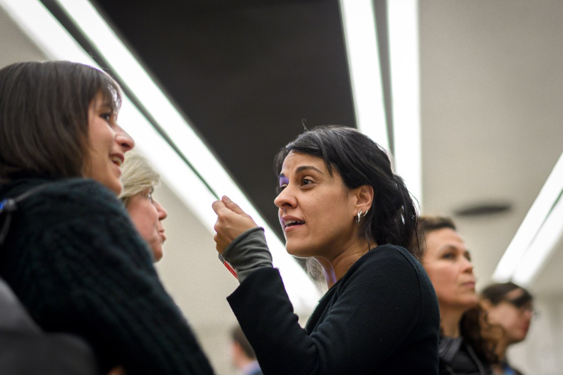 FILE - Swiss exiled pro-independence former member of the Catalan parliament Anna Gabriel gestures after a side event of the United Nations Human Rights Council in Geneva, March 19, 2018.
