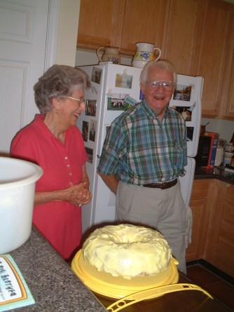 Grandparents and cake