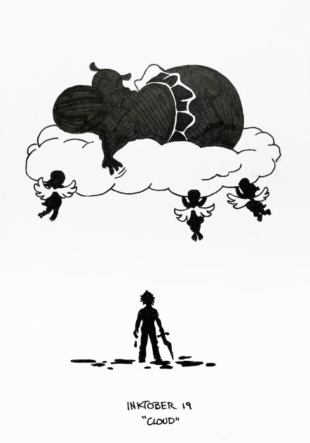 Black pen drawing of a hippo in a tutu ascending to heaven on a cloud pushed by three small hippo cherubim, while a man dripping mud watches.