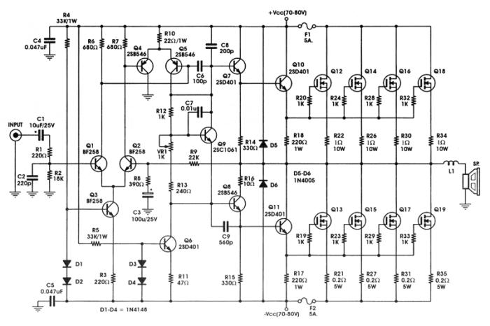 Rangkaian Power Amplifier MOSFET 400 Watt IRFP448