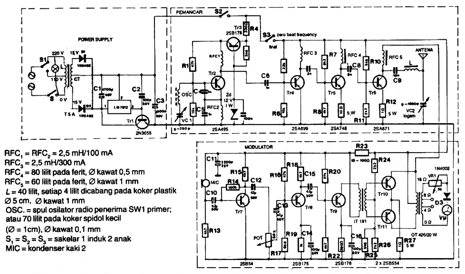 rangkaian pemancar radio 80 meter band lengkap