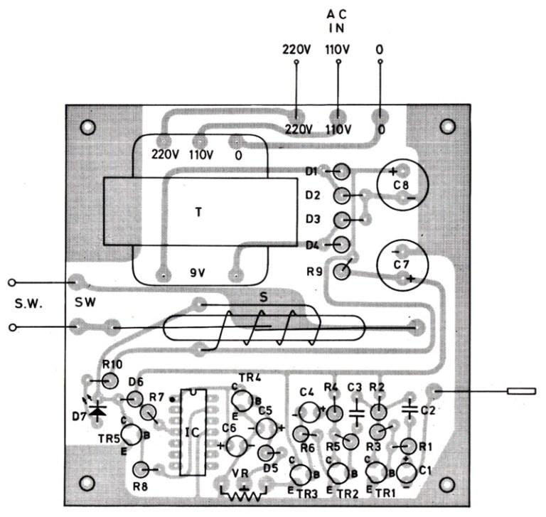 layout pcb rangkaian saklar sentuh elektronik
