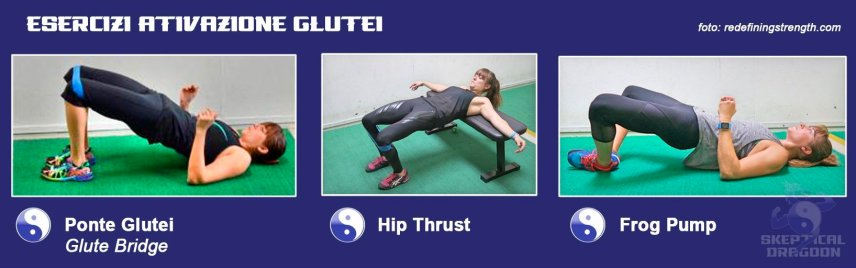 attivazione glutei, hip thrust, frog pump, glute bridge,