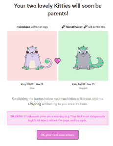 Cryptokitties breeding give privacy