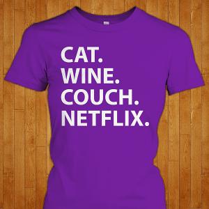 Cat Wine Couch Netflix shirt