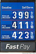 Gas Prices board