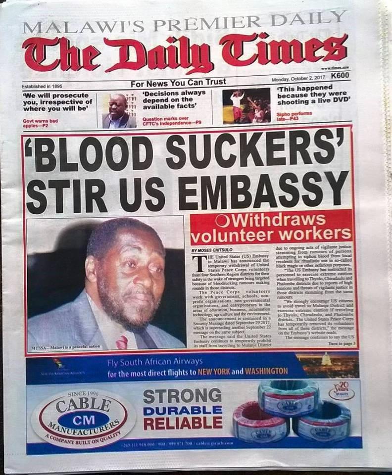 Blood Suckers in Malawi Termed Mass Hysteria; Monkey Man a Similar Case