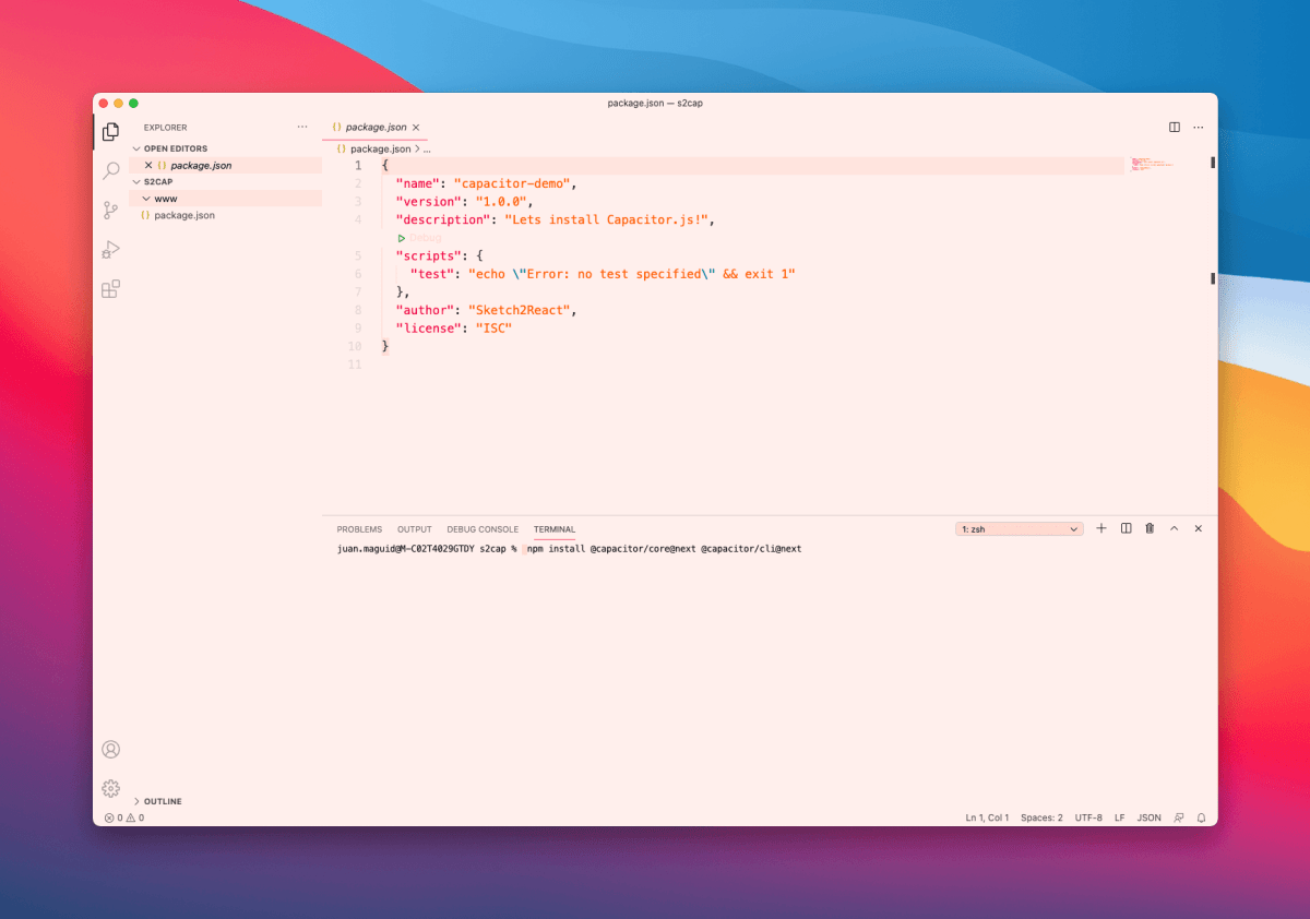 This command installs Capacitor to your project folder - neat!