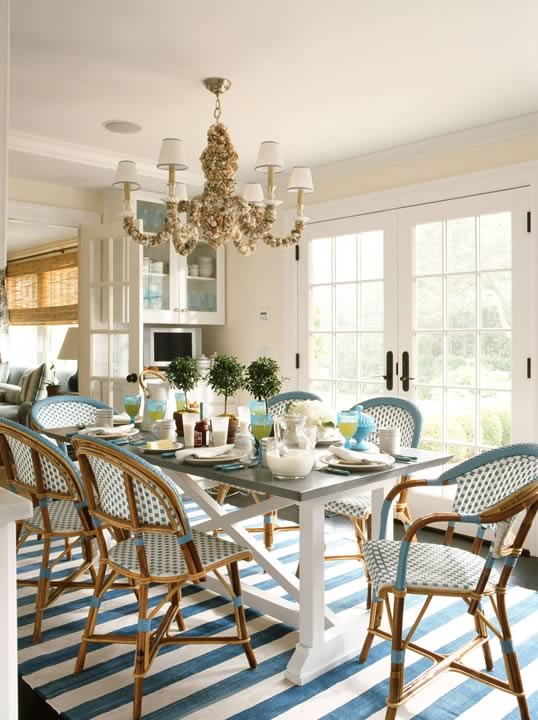 Dining Room South Hampton Summer Home Farm Table French Bistro Chairs Blue White Sea Shell Six Light Chandelier Doors Striped Ruge Carpet