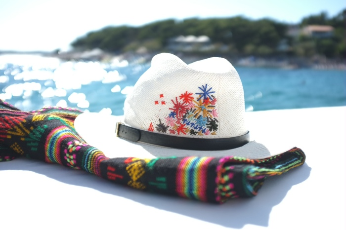 Vacation DIY  Embroidered Beach Hat.   NICOLE COHEN 9464cfda1ab