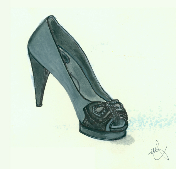 Amina's BCBG Shoe. Ink and watercolor. Sept. 19, 2009