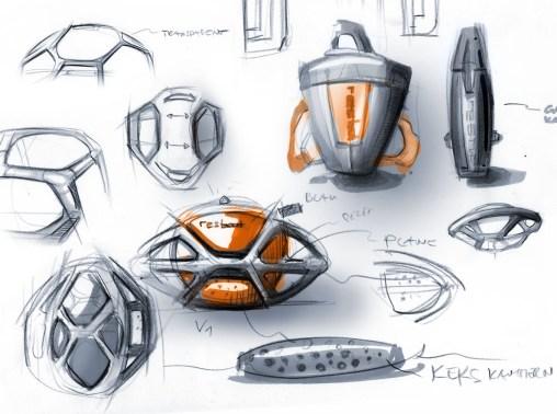 Industrial Design Sketch - Florian Mack - Rescueboat