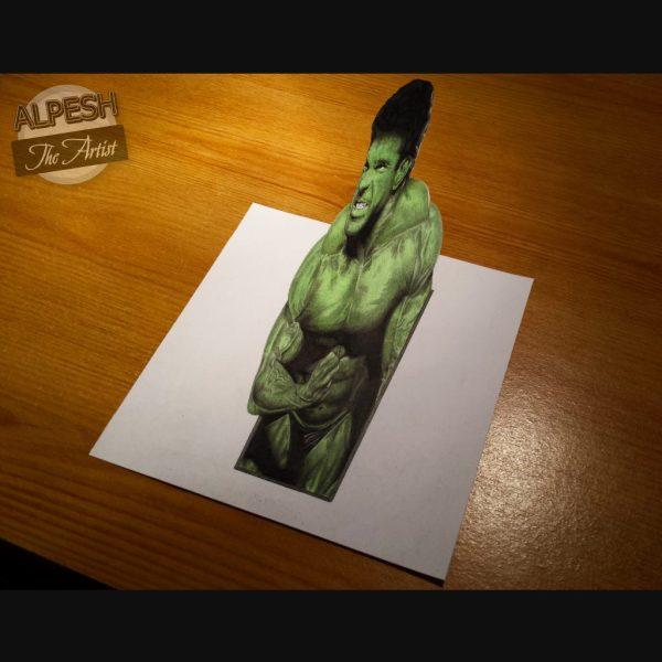 3d Lou Ferrigno Hulk Drawing - Sketchbook Illustrated