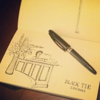 Waiting at Black Tie = sketching. 1/10/2013, Pentel Tradio in Moleskine A5, a bit less than an hour.