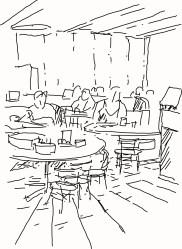 restaurant drawing easy inside sketch breakfast coloring