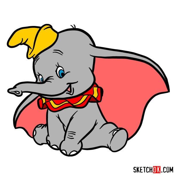 Draw Dumbo Elephant - Step Drawing