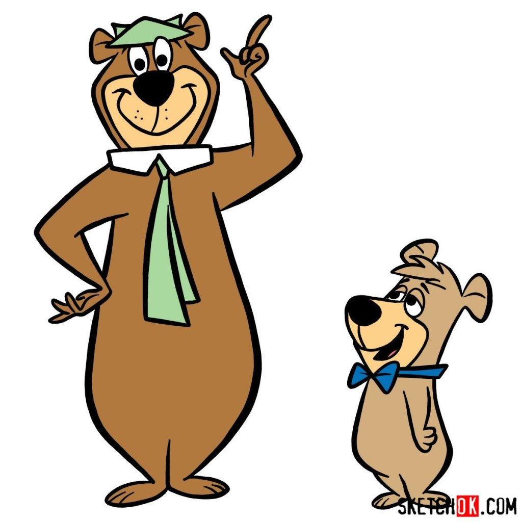 How to draw Yogi Bear and Boo-Boo Bear