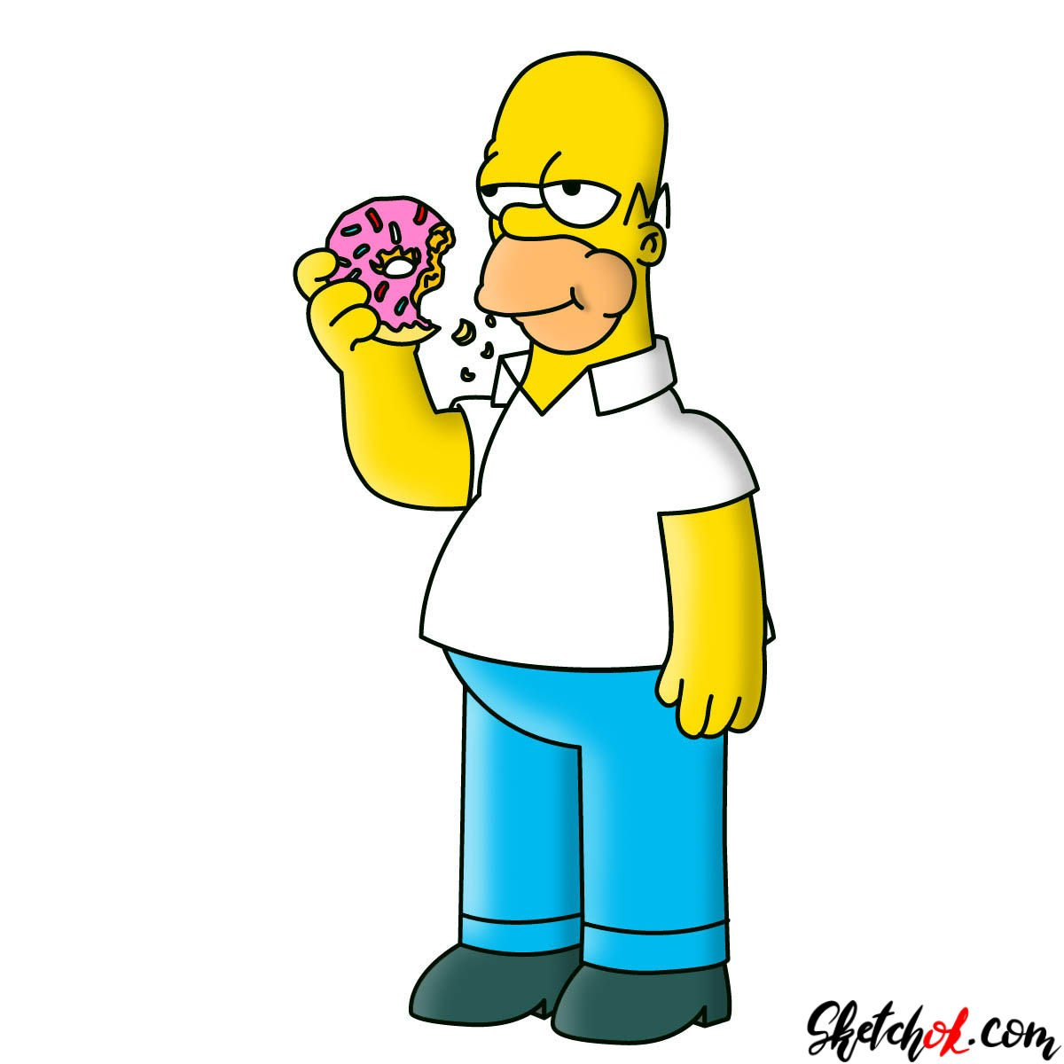 How To Draw Homer Simpson Eating A Donut Sketchok Step By Step Drawing Tutorials