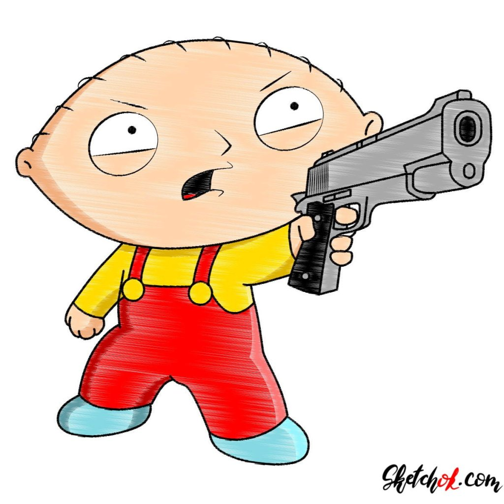 How to draw Stewie Griffin with a pistol