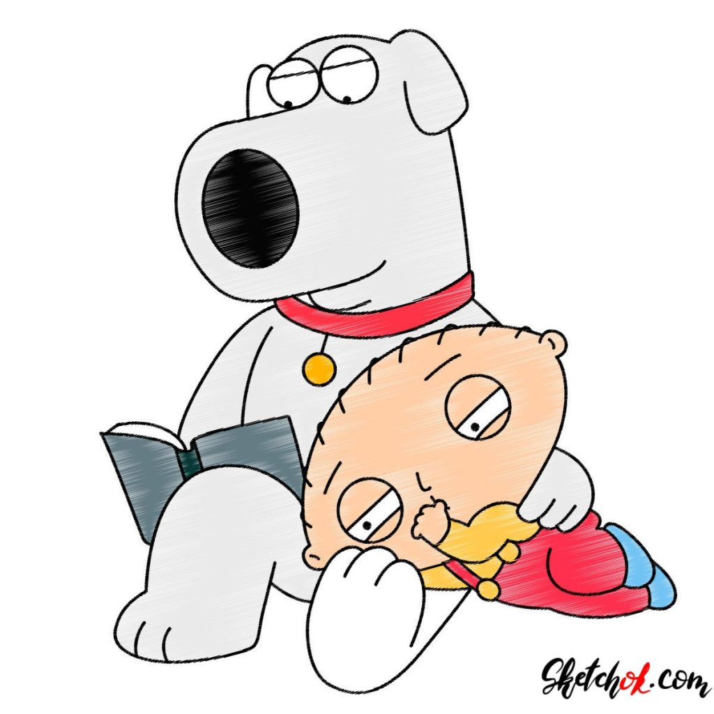 How to draw Stewie and Brian Griffin together