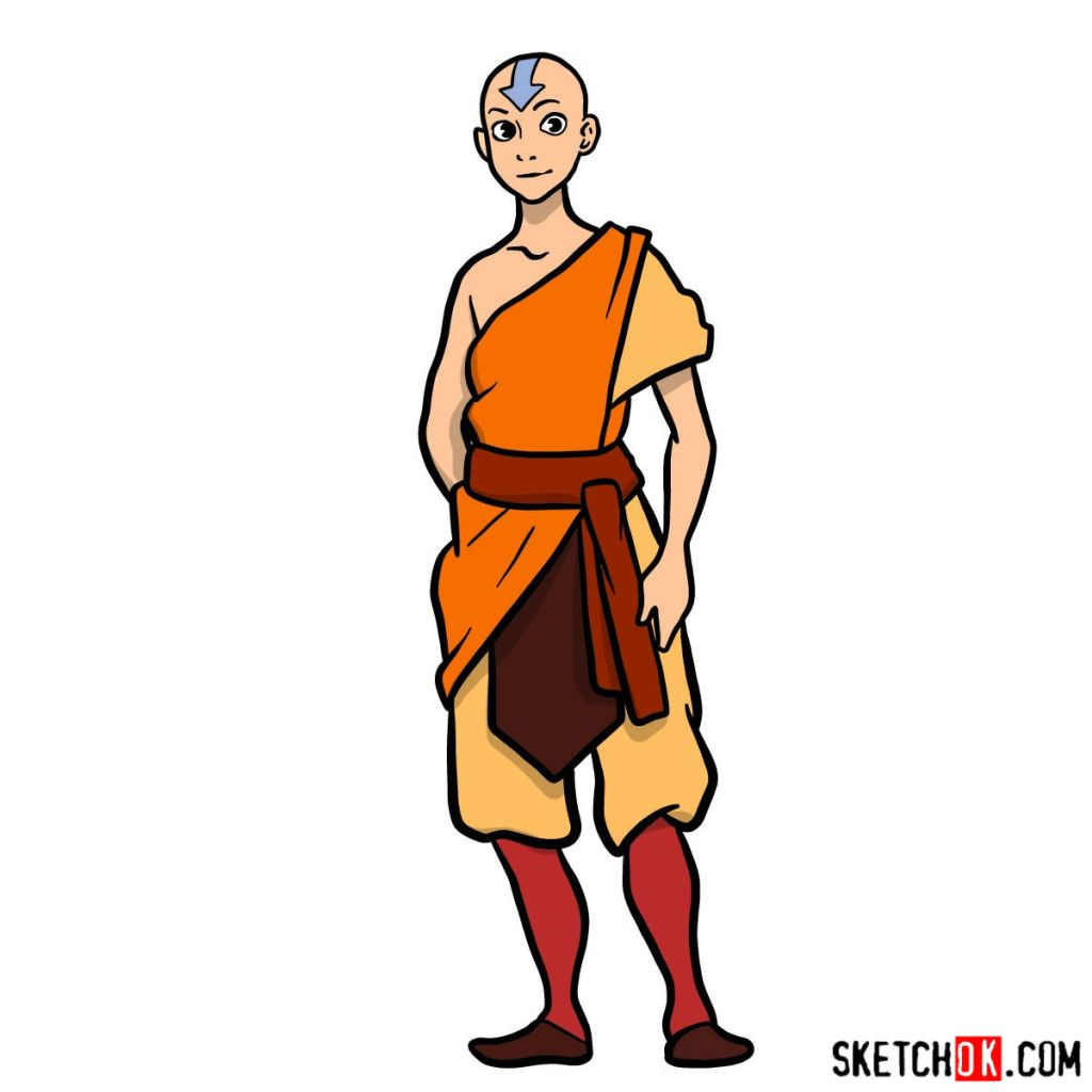 How to draw Avatar Aang in full growth