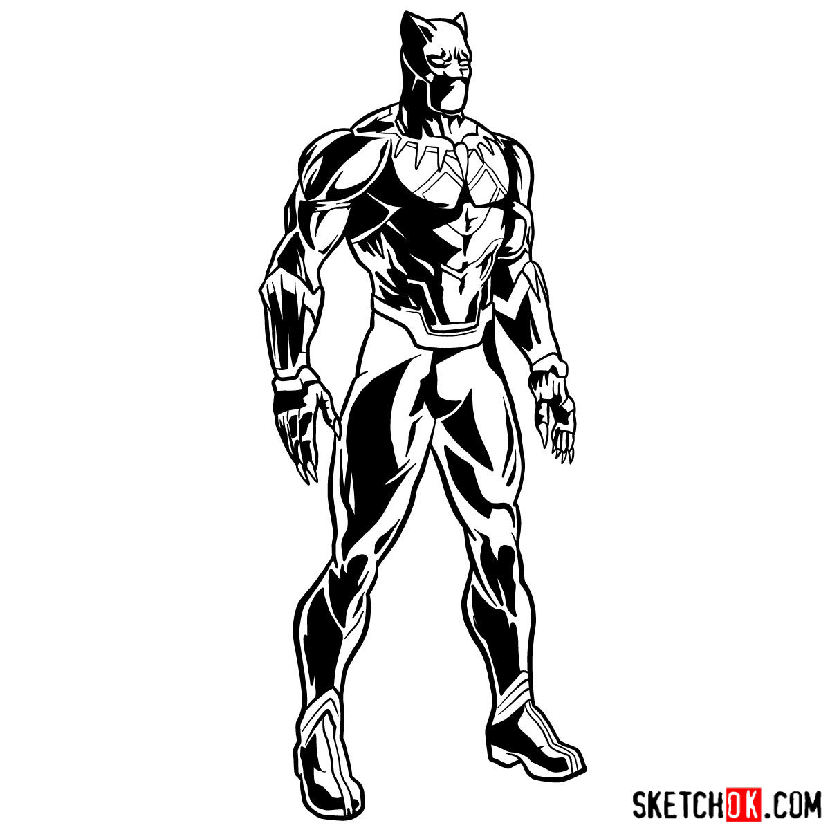How To Draw Black Panther From Infinity War Film