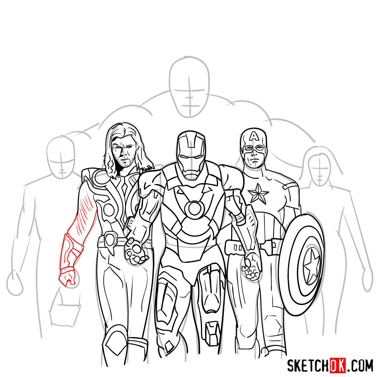 How To Draw The Avengers Team