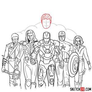 avengers draw team step marvel sketchok superheroes easy drawing tutorials comics uroki
