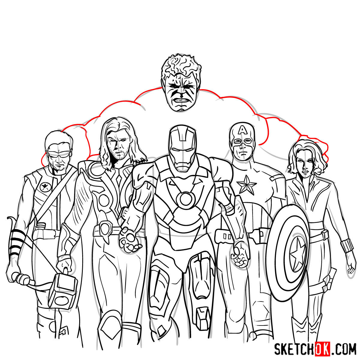 How to draw the Avengers Team - Sketchok
