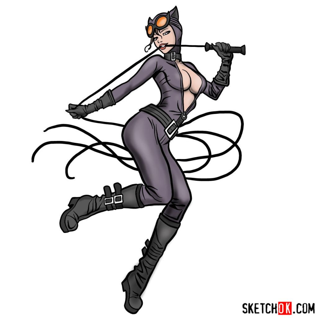 How to draw Catwoman superheroine from DC Comics