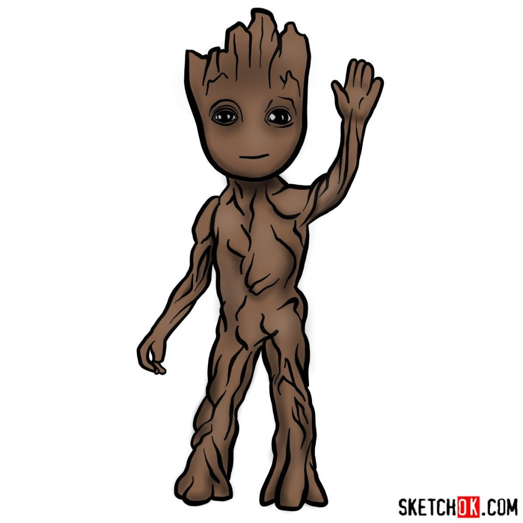 How to draw Baby Groot waving