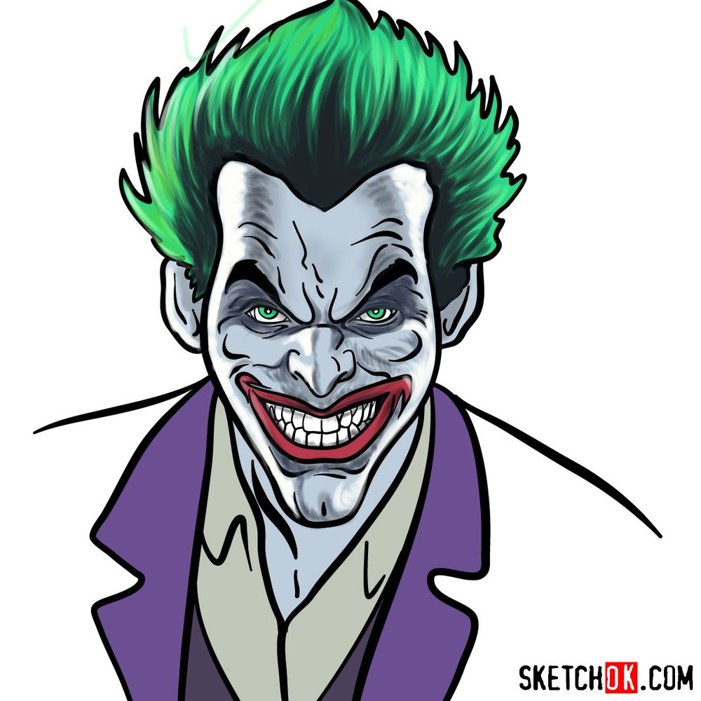 How to draw Joker's face