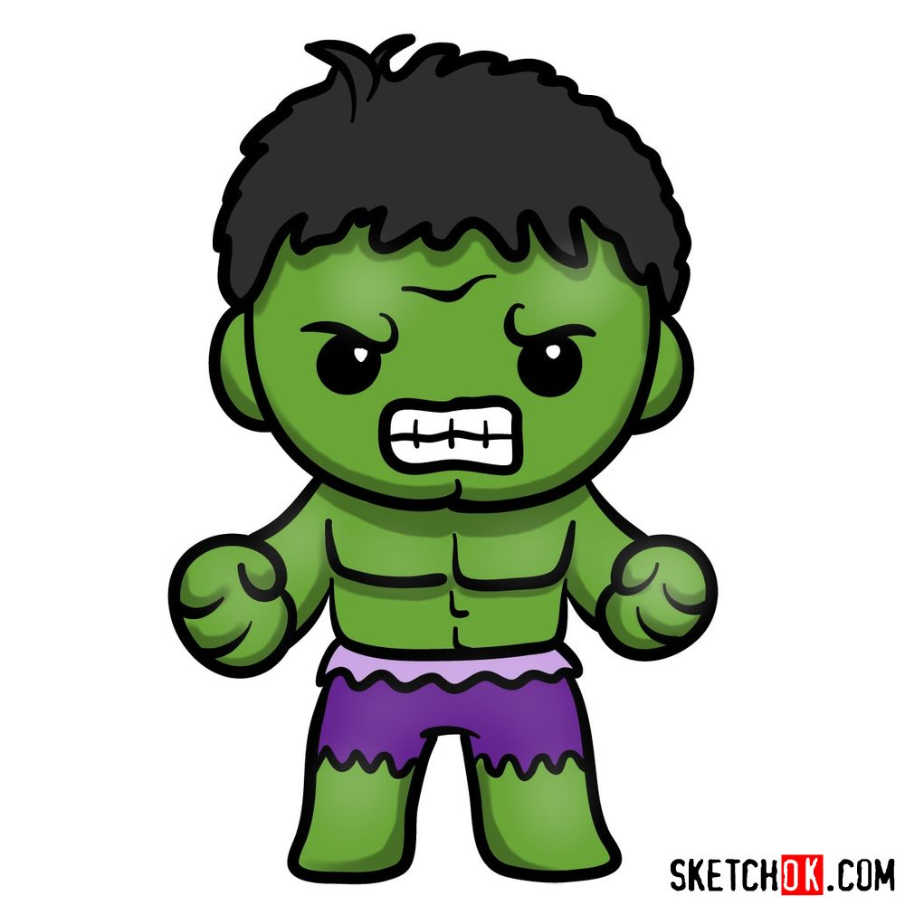 How to draw chibi Hulk | Cute Chibi Superheroes